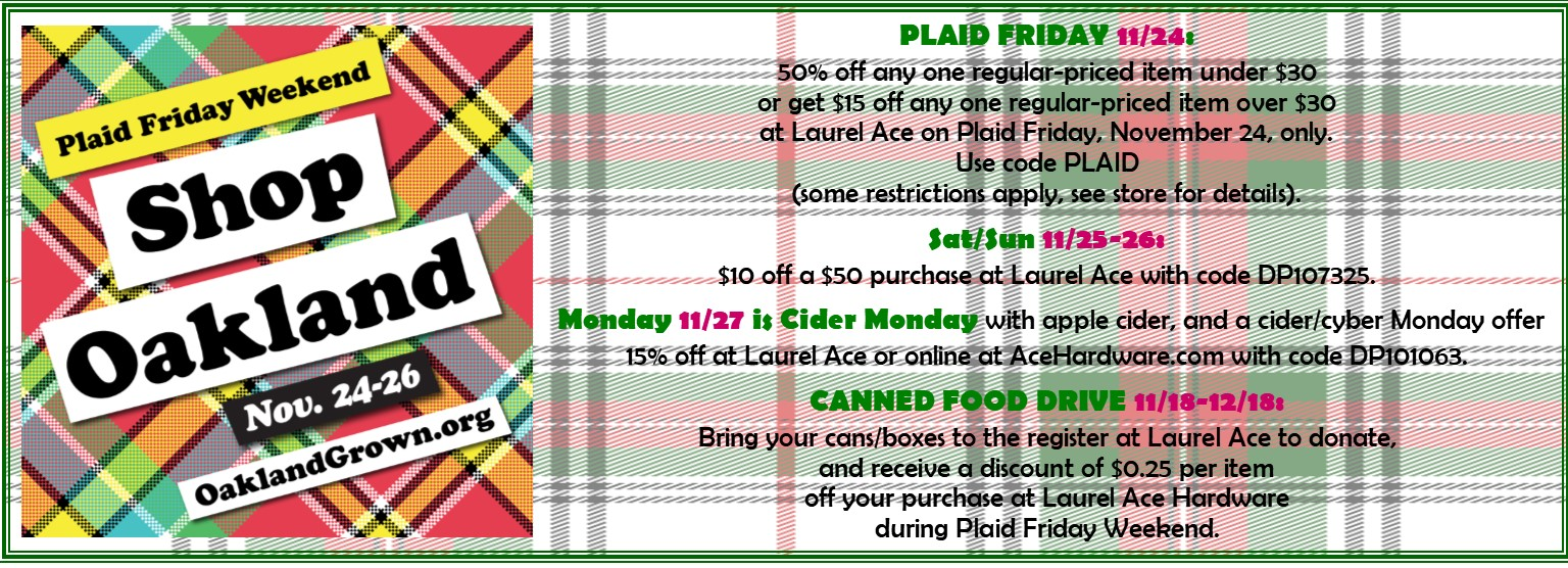 #OAKPFW Plaid Friday, Shop Small Saturday, Cider Monday
